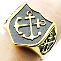 Charm Gold Double Anchor Pattern Rings For Men Women 316L Stainless Steel Fashion High Quality Punk Jewelry Party Gifts LR421