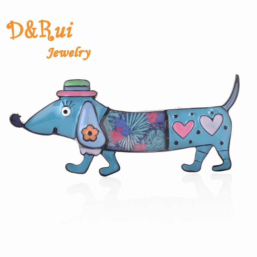 Colorful Dachshund Brooches Men Collar Pin Women Cute Animal Small Dog Brooch Classic Fashion Female Jewelry Alloy Metal Gifts