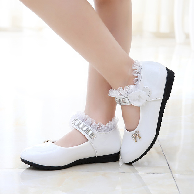 Autumn Shoes For Girls Lace Shoes White Girl Children Princess Single Shoes Kids Baby Leather Shoes With Flower