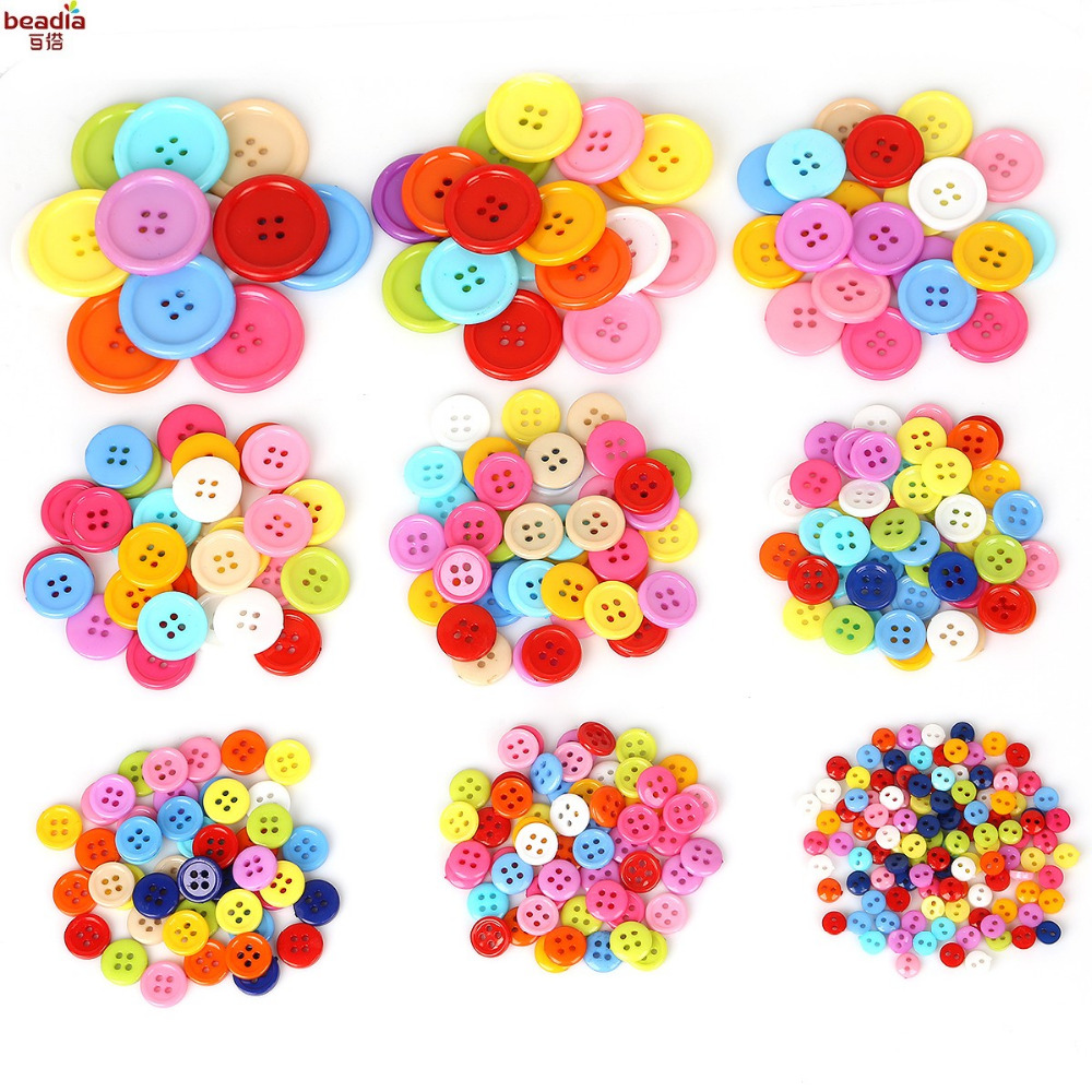 20-200pcs Multi Size 4 Holes Buttons Random Mixed Round Resin Sewing Buttons For Scrapbooking Craft Fashion Accessories Elegant And Sturdy Package Buttons