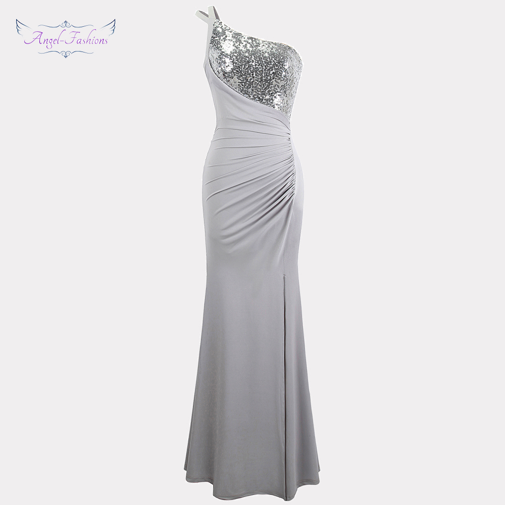 Angel-fashions Women's One Shoulder   Evening     Dresses   Pleat Slit Sequin Party Gown Gray 399