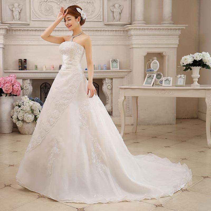 Fansmile Cheap Vintage Lace Long Train Wedding Dresses 2020 Bridal Gowns Vestidos Plus Size Bridal Dress Free Shipping FSM-117T