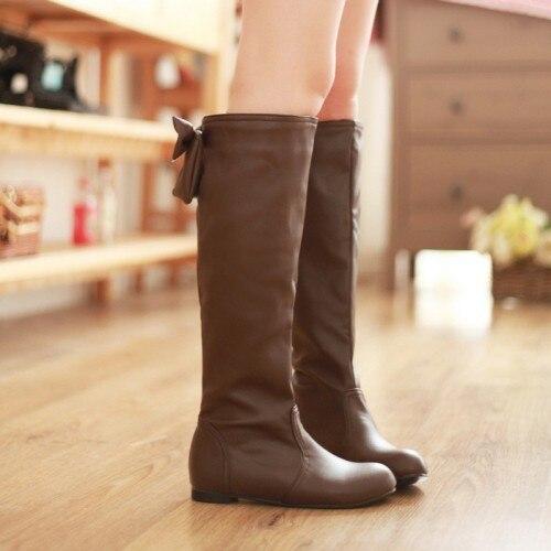 ФОТО new 2014 big size pu leather black white flat women knee high boots winter autumn shoes woman fashion ladies slip on brown