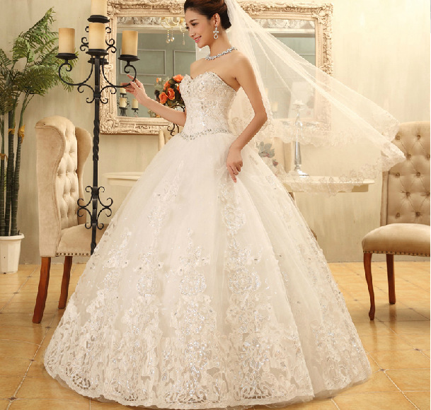 Diamond White Lace Wedding Dress - Wedding Dress Ideas
