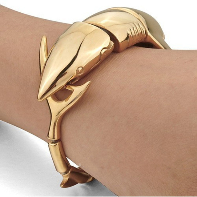 Brand Gold-color Bracelet, Exaggerated Shark Bracelet, Stainless Steel Men's Jewelry Wholesale, Free Shipping