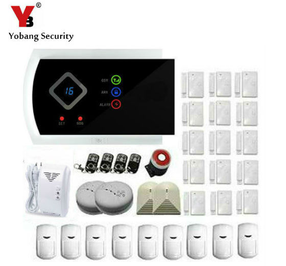 YobangSecurity Wireless 433MHZ GSM SMS Home Burglar Security Alarm System Detector Sensor Kit Smoke Gas Detector Pir Door Sensor цена и фото