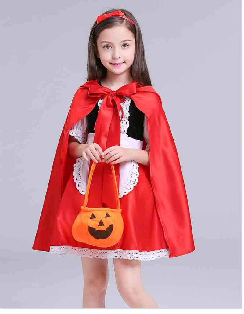 Adult and Kids Halloween Costume Little Red Riding Hood Hooded Robe Christmas Carnival Party Dress Up For Mother & Girls