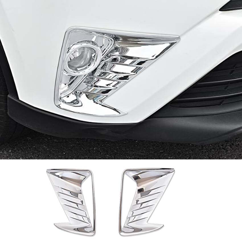 Fit For <font><b>Toyota</b></font> <font><b>RAV4</b></font> 2016 2017 <font><b>2018</b></font> Car Front Fog Light Lamp Cover Stickers Molding Bezel Styling Chrome ABS <font><b>Accessories</b></font> 2pcs/set image