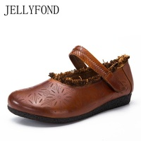 JELLYFOND Genuine Leather Ballet Flats Handmade Shoes Woman 2018 Vintage Tassel Fretwork Calfskin Loafers Moccasins Autumn Shoes