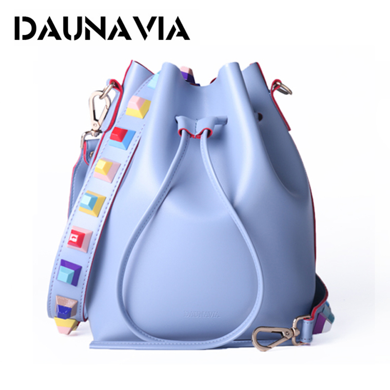 DAUNAVIA brand fashion PU leather shouder bags for women rivet shoulder strap handbags luxury designer female crossbody bags