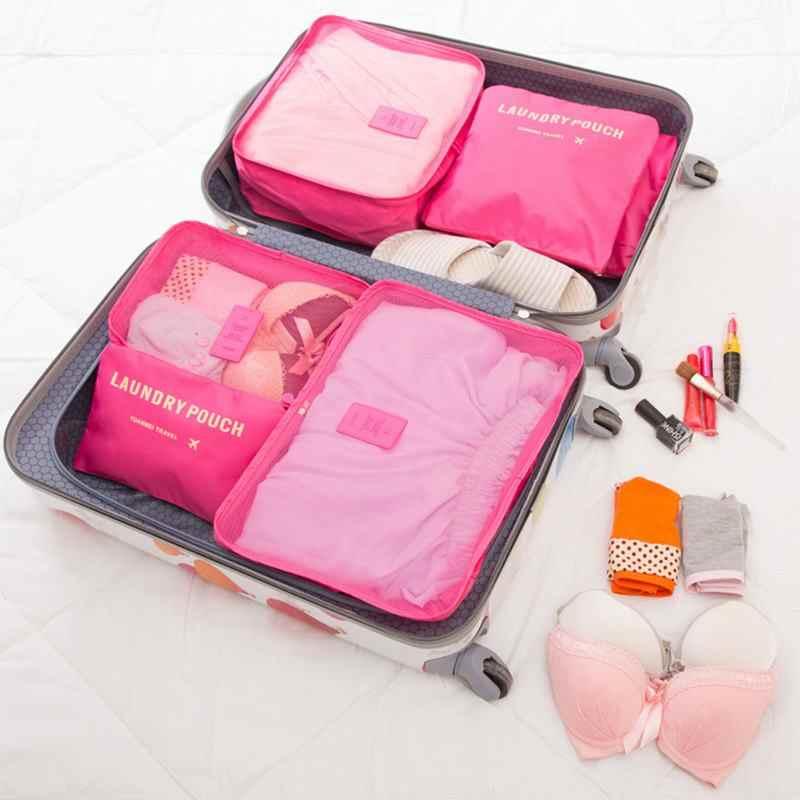 035104ed3f74 6 шт./компл. Футляр аккуратная одежда сумка для хранения Box Чемодан чехол  для