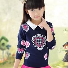 2016 New Fashion Warm Children Clothing Cotton O-Neck Peach Girls Cardigan Sweater Kid Girl Girls Autumn Sweater