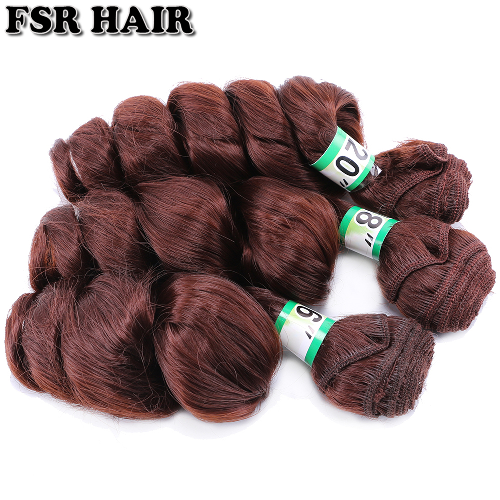 Image 4 - FSR 16 18 20 Inch 3 pcs/lot loose wave hair Weaving 613# double weft Synthetic hair ExtensionsSynthetic Weave   -