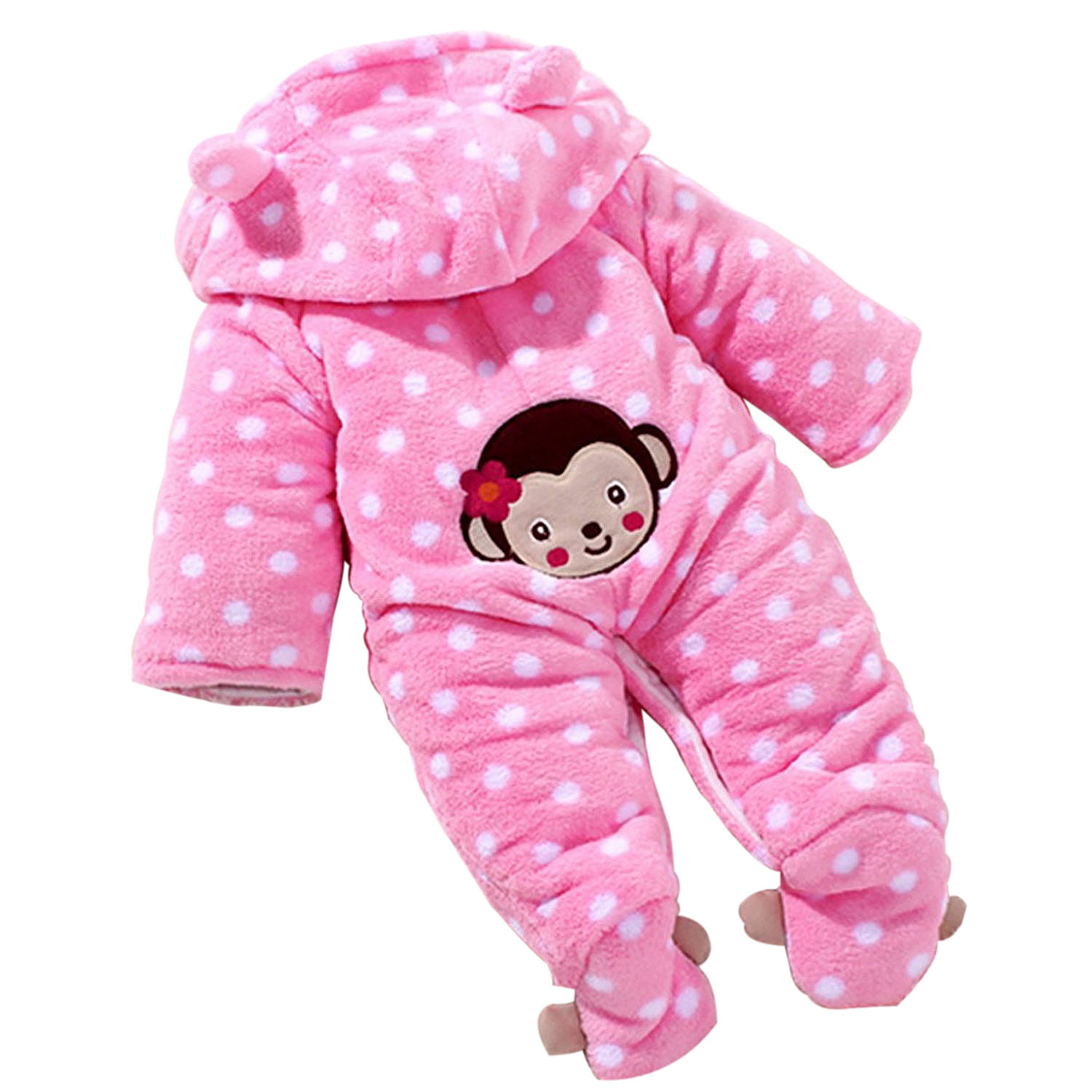 3e68da94af9e Baby s Toddler Velour Winter Autumn Cute Footed Jumpsuit Front ...