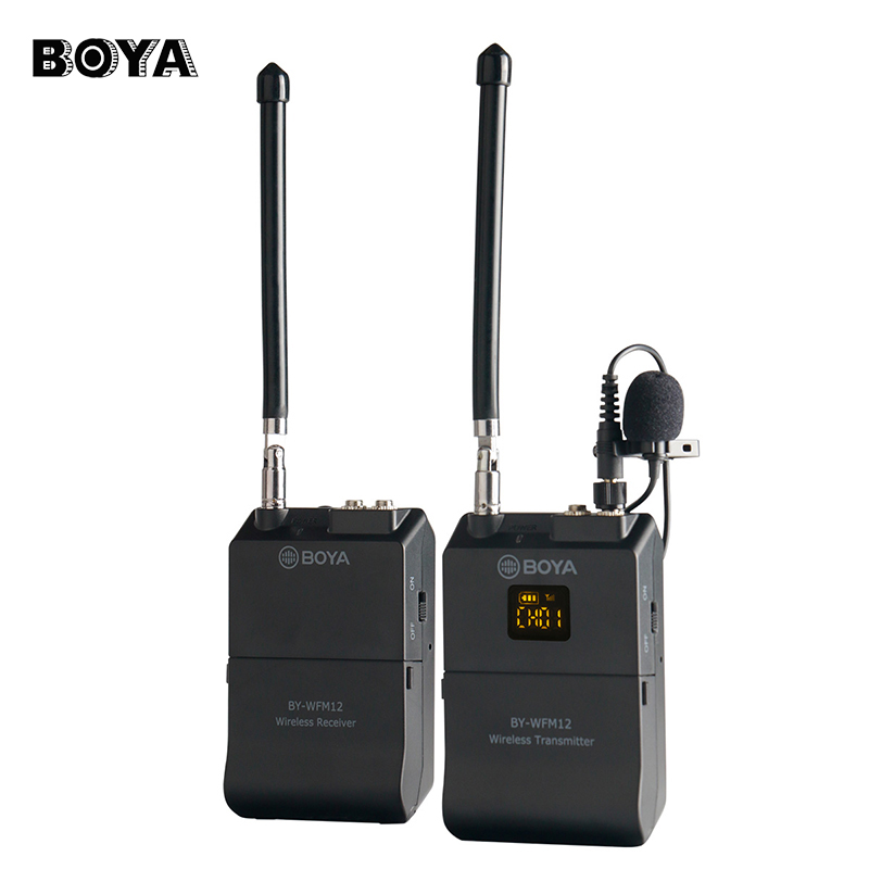 BOYA BY-WFM12 Wireless VHF Microphone System for DSLR Camera iPhone Camcorder Audio Recorder Tablet Dual Jacke for Transmitter free shipping 1038 professional portable wireless microphone system with bodypack transmitter for dv dslr camera camcorder