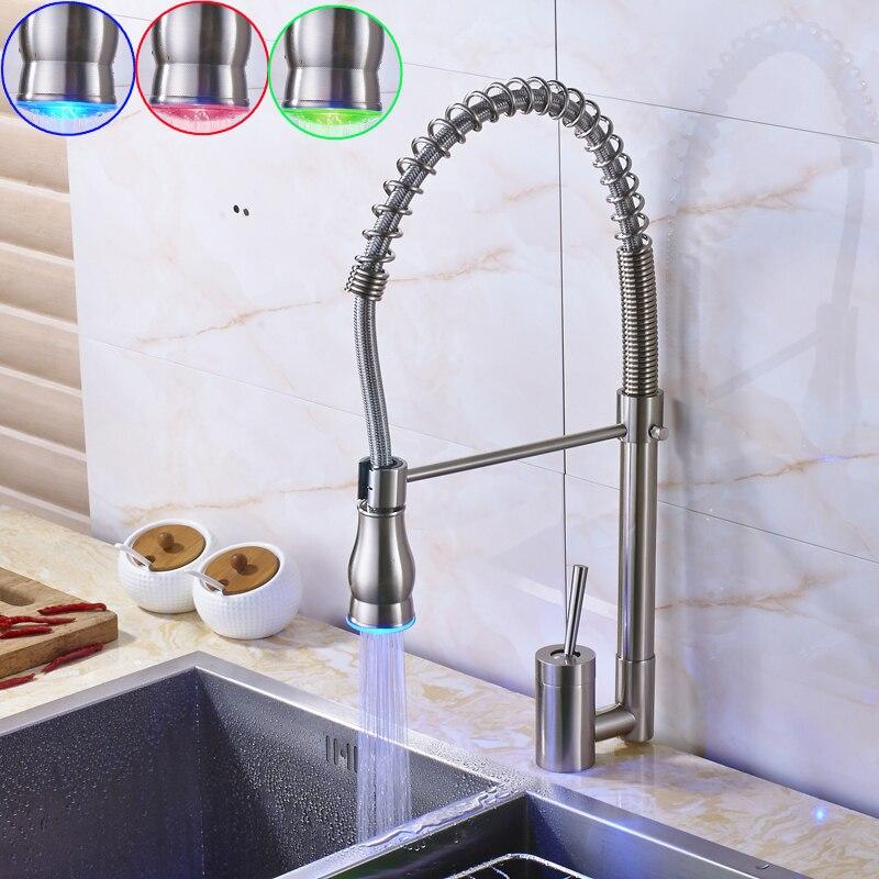LED Цвет изменение Никель матовый Кухня тянуть Подпушка кран Одной ручкой одно отверстие RGB света Кухня смесители