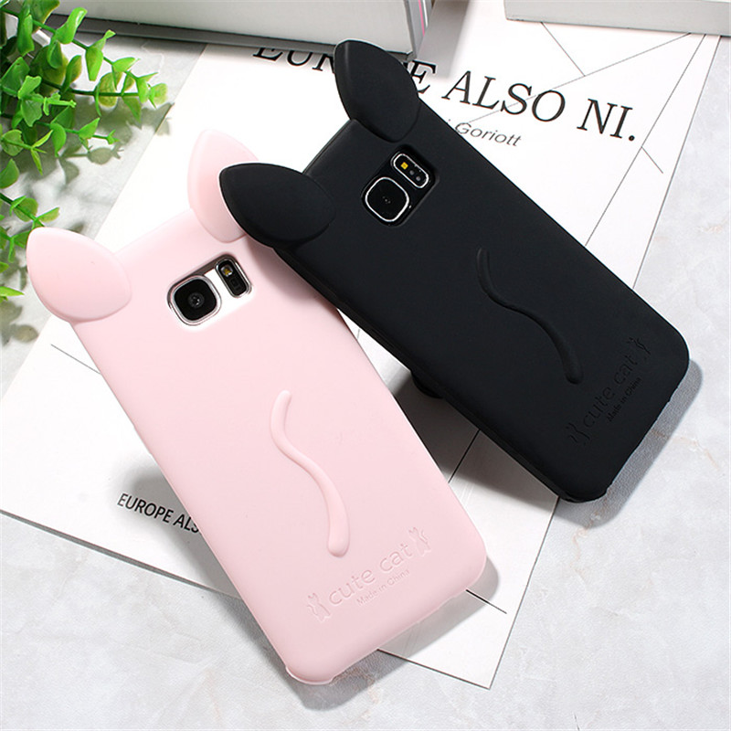 timeless design aaa8f c45ec US $2.13 7% OFF|cute Cat ears with rope soft gel TPU silicon Shock proof  case For Samsung Galaxy S7 Edge G9350 / S7 G9300 / S6 Edge G9250 / S6-in ...
