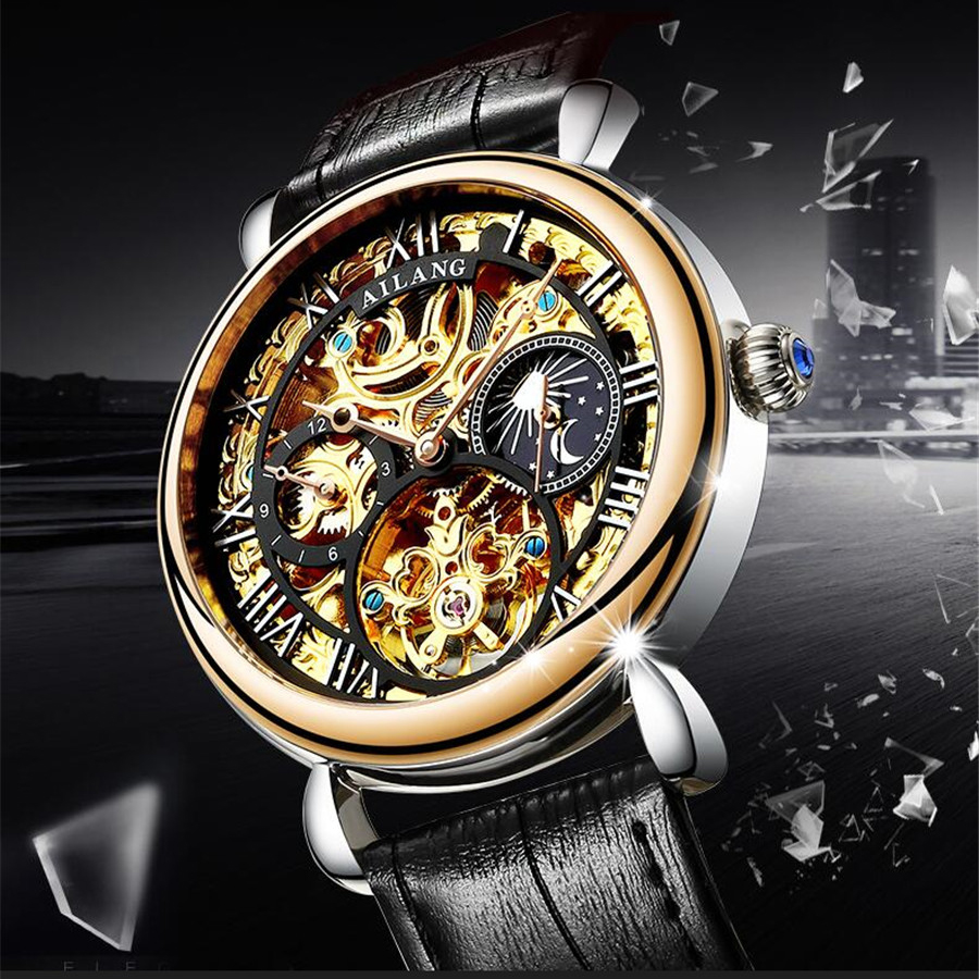 AILANG Men Watches Top Brand Luxury Mechanical Skeleton Watch Black Golden Moon phase Design Roman Number Black Dial Designer mens mechanical watches top brand luxury watch fashion design black golden watches leather strap skeleton watch with gift box