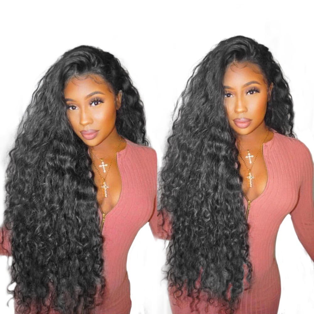 Curly Human Hair Parykker 250% Tetthet Brasilian Loose Lace Front Parykk For Women Natural Black Glueless Full End Noe Beauty Remy