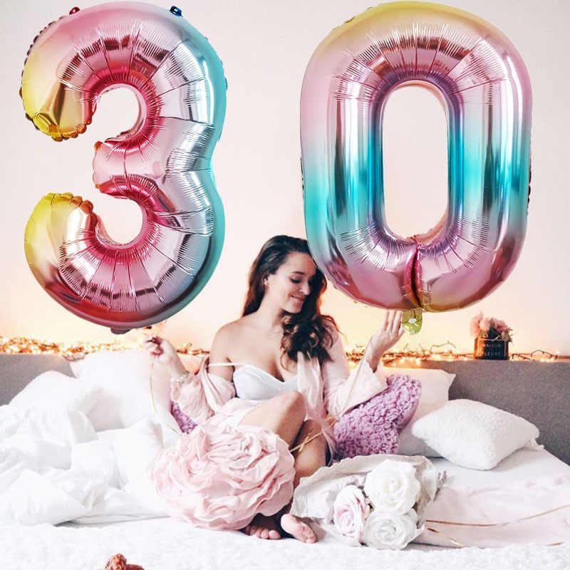 32 Inch Grote Aantal Ballonnen Baby Douche Helium Folie Ballon Goud Zilver Roze Rood Blauw Digit Globos Verjaardagsfeestje Bruiloft ballon