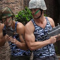 Körper Männer Tank Tops Armee Camo Camouflage Herren Weste V-ausschnitt Turnhallen Junge Weste Ärmelloses Shirt