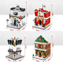 Hot mini street view building block with light super sport car Coffee shop City Science Technology Hall legod lepines city toy