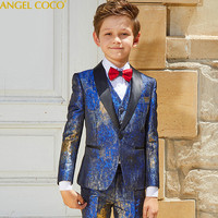 Hot Stamping Process Catwalk Children Suit Blazer Boys Suits For Weddings Formal Suit Costume Enfant Garcon Mariage Prom Suits