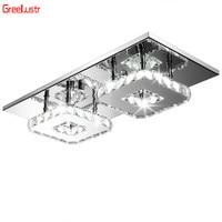 Square LED Lustre Cristal Ceiling Lights Luminarias Para Sala Ceiling Lamp Plafon Balcony Hallway Lampara Lighting Fixtures