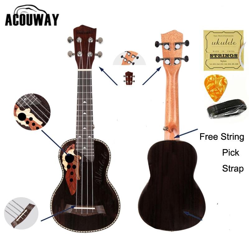 цена на Acouway Ukulele Soprano Concert Ukulele 21 23 rosewood uku Ukelele with Aquila String mini Hawaii guitar Musical Instruments