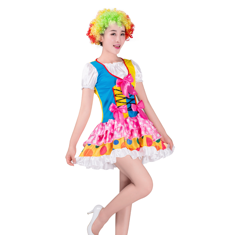 HOT!Holiday Variety Funny Clown Costumes Christmas Adult Woman Joker Costume Cosplay Party Dress Up Clown Clothes Suit Costume