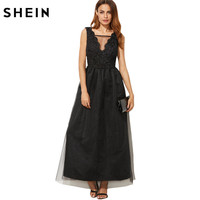 SheIn European Style Women Dresses Designer Party Dress Black Mesh Overlay Scallop V Neck Embroidered A
