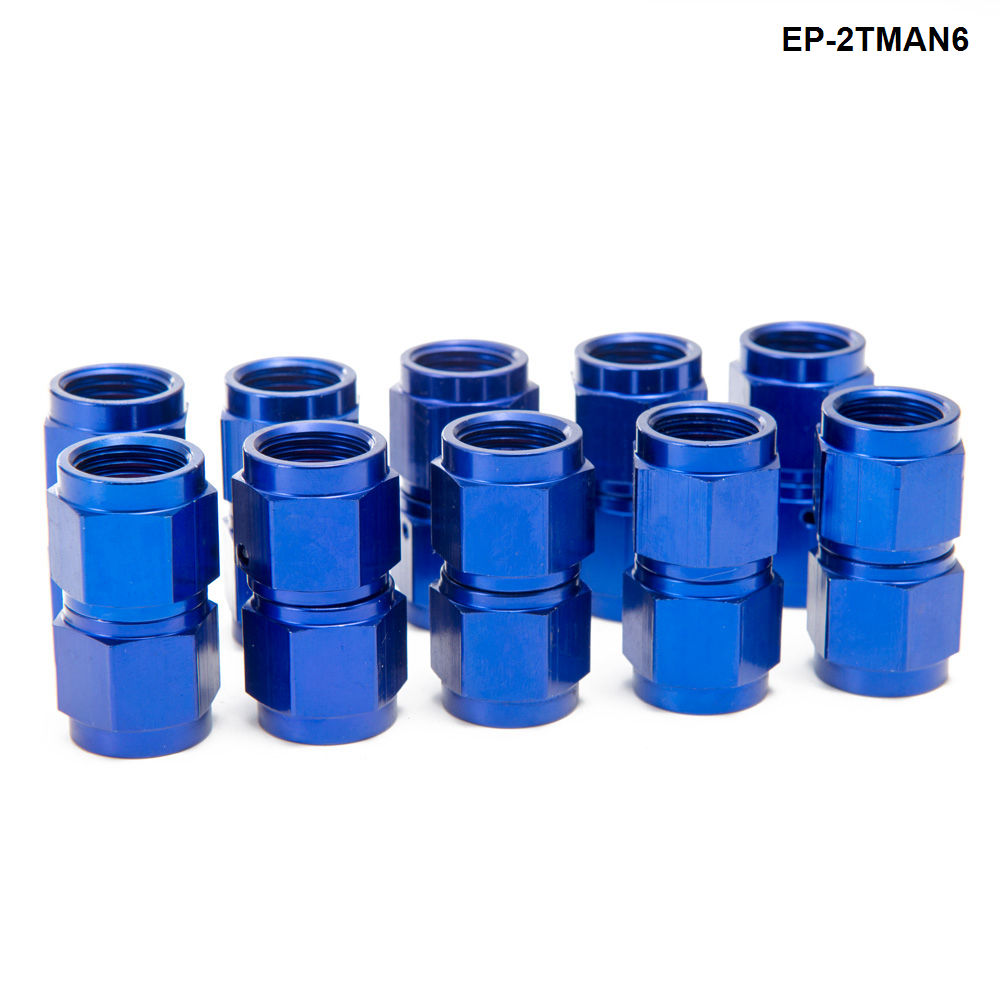 10PCS/SET Blue AN6 Universal Fuel Oil Fitting Aluminum Hose End Adaptor 2 Side Female Fitting EP-2TMAN6