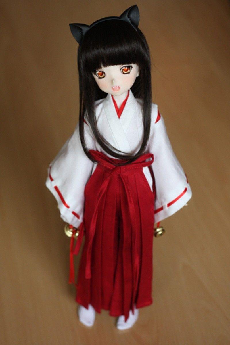 [wamami] 3pcs Wihte&Red Inuyasha Kimono Miko Anime Suit 1/4 MSD 1/6 1/3 SD DZ Doll BJD Dollfie