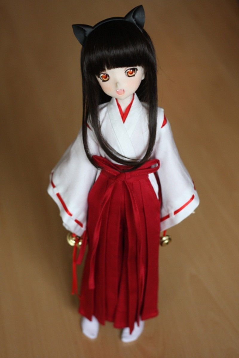 Wamami 3pc wihtered inuyasha kimono miko anime suit 1 4 msd doll bjd dollfie in dolls accessories from toys hobbies on aliexpress com alibaba group