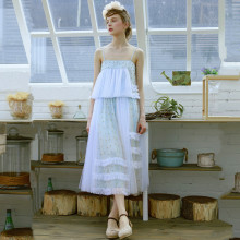 LYNETTE'S CHINOISERIE Goldenbarr baby blue irregular patchwork baimuer beading expansion bottom cake bust skirt