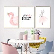Posters Nodic Pink Swan Kids Poster Girls Baby Gir