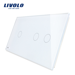 Free Shipping Livolo Luxury White Pearl Crystal Glass, 151mm*80mm, Glass Only EU standard, Double Glass Panel, VL-C7-C1/C2-11