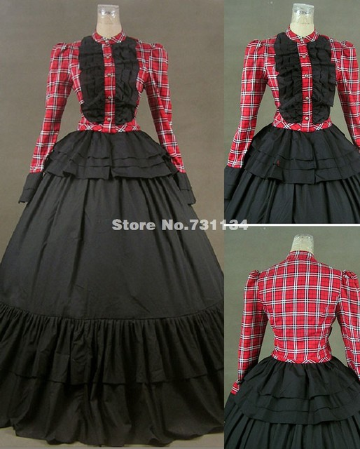 Red Plaid Long Sleeves Civil War Plus Size Victorian Dress Costumes