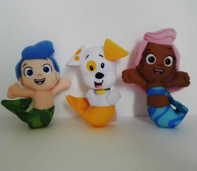 3pcs/lot Original Bubble Guppies Plush Toy Cartoon Bubble Puppy Molly Gil stuffed doll Sweet dog fish pet shop kids Gift