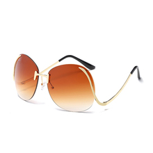 Rimless Retro Sunglasses For Women Men Big Frame Polarized Fashion High Quality Glasses Mirror New Brand Designer Hot Ray UV400