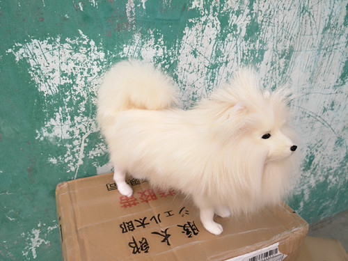 new simulation white dog model polyethylene & furs dog model gift about 31x24cm 1655