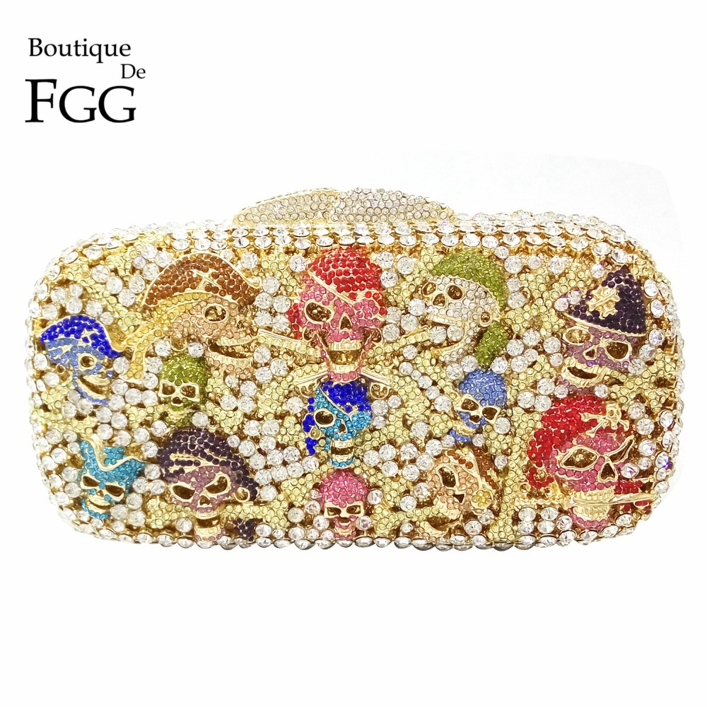 Skull Pirate Hollow Out Crystal Diamond Women Wedding Party Dinner Evening Clutches Handbags Ladies Chains Metal Shoulder Bag pirate jack