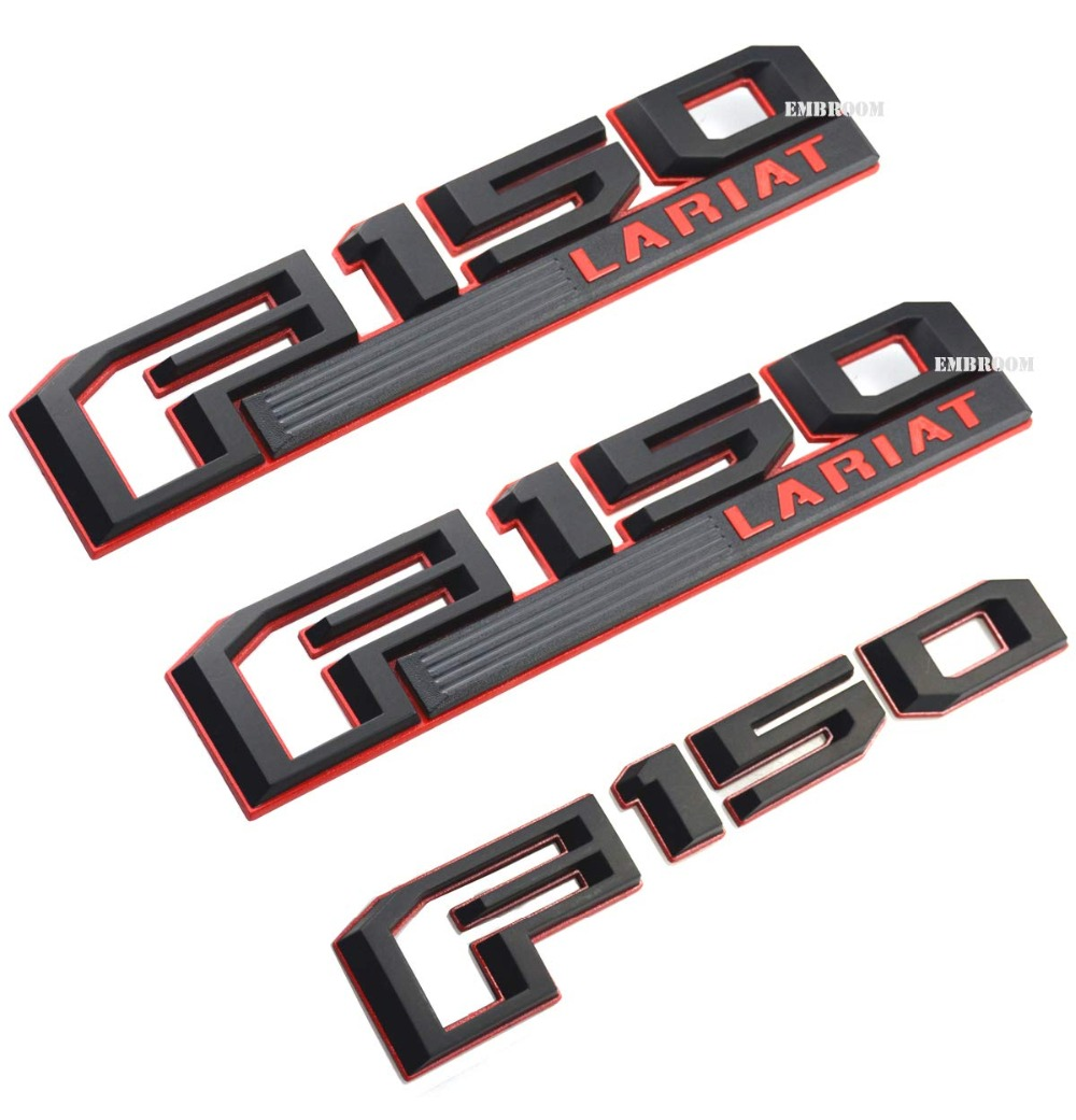 3Pcs F150 LARIAT Emblems, Fender Tailgate Sticker Decal Badge 3D Nameplate Set Replacement For Ford F 150 Genuine Parts