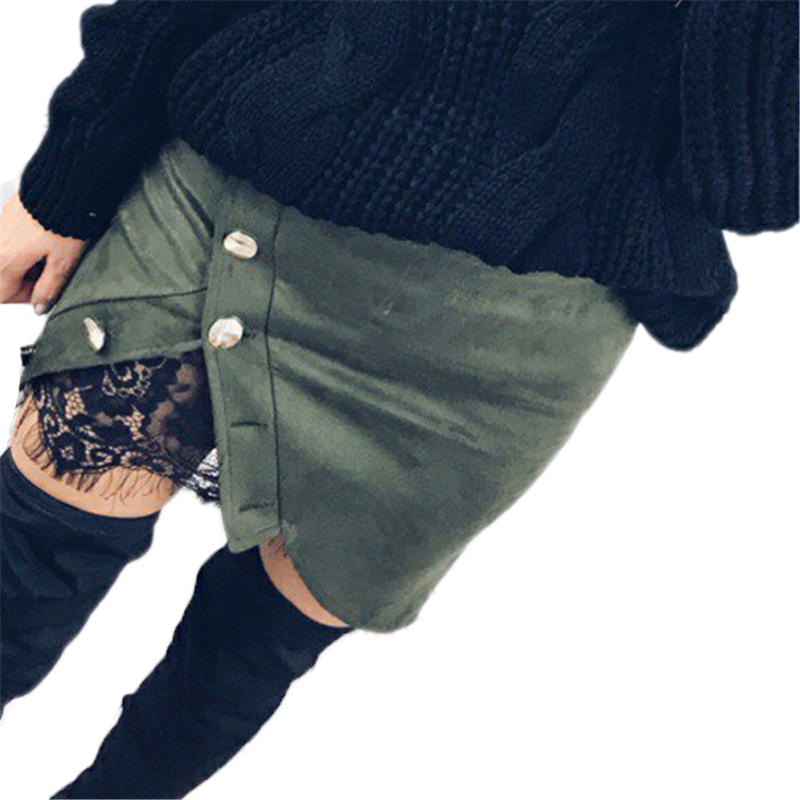 New fashion Women Ladies High Waist Pencil Skirts button lace patchwork sexy Bodycon Suede Leather split party casual Mini Skirt 31