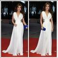 2015 вдохновленный нэнси Ajram арабский дубай мусульманин знаменитости платья линия шифон Ruched лиф Pleat вечерние ну вечеринку платья