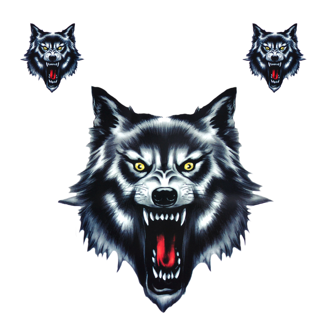 DWCX Vinyl Wolf Head Decals Waterproof Funny Self-adhesive Sticker for Motorcycle Motorbike Car Door Stickers Truck Helmet Decor image