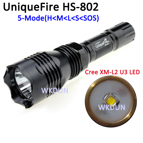 HS-802 Cree XML2 XM-L2 U3 LED 5 Mode Rechargeable LED Flashlight Torch camping Lamp 2000 lumens (1x18650) jetbeam c8 rechargeable led flashlight torch 1000 lumens cree xm l2 for outdoor search sescue hiking camping with 18650 charger