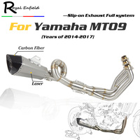 MT09 FZ09 Motorcycle slip on Exhaust muffler down pipe headers exhaust Full System laser For Yamaha FZ 09 MT 09 MT 09 2014 2017