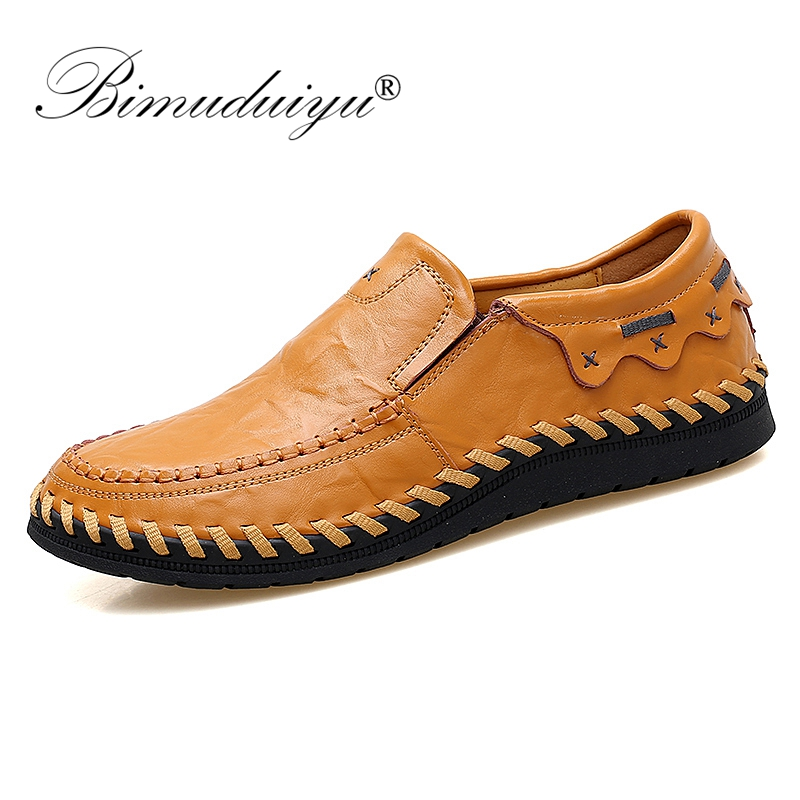BIMUDUIYU Large Size 38-47 Fashion Men Shoes Moccasins Flats Male Breathable Driving Shoes Men Leather Casual Boat Shoes Loafers men leather boat shoes vintage lace up casual driving shoes man fashion flats chaussure homme large size 46 loafers zapatillas