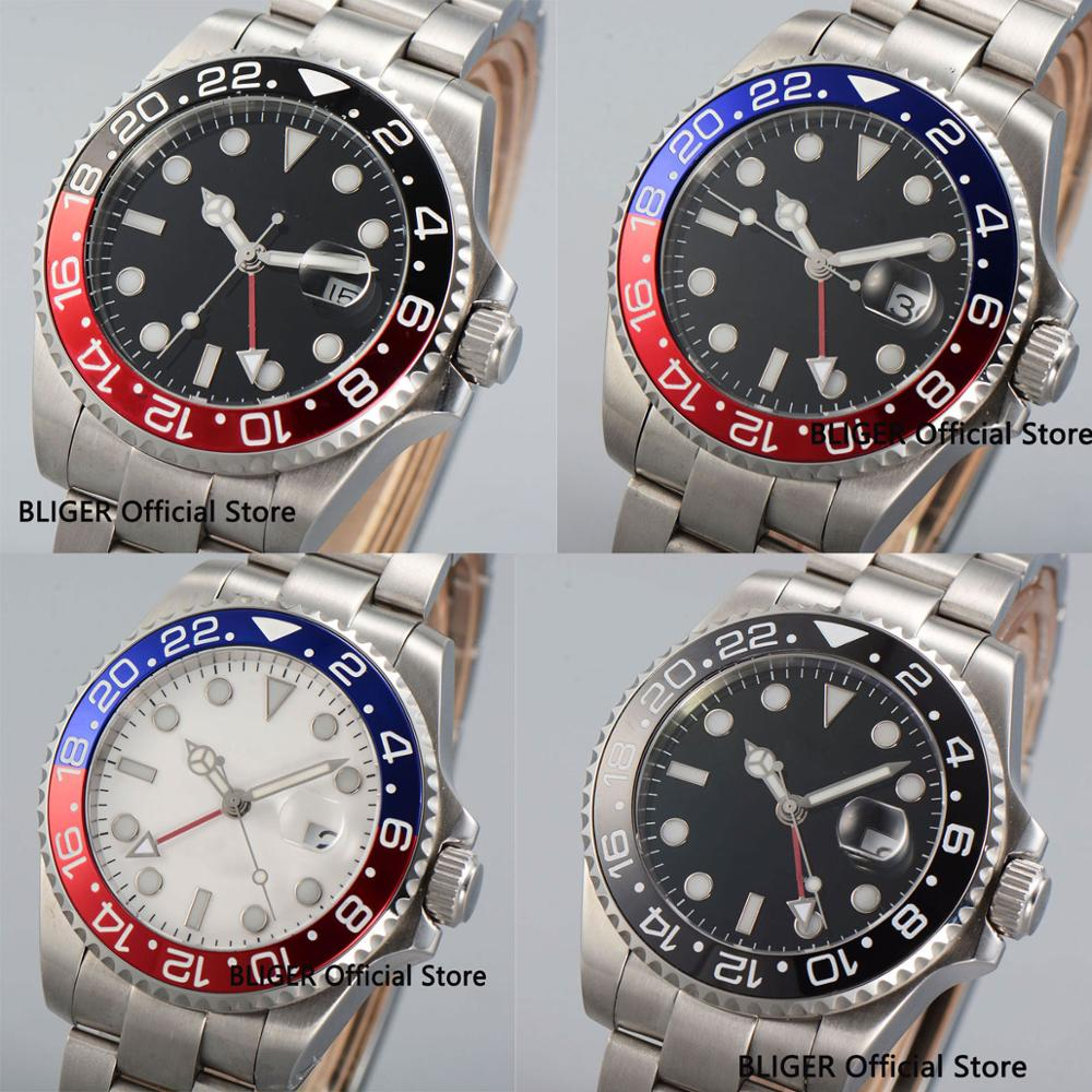 5 Models 43MM Nologo Red GMT Hand Automatic Mens Watch Auto Date Luminous Hand SS Strap5 Models 43MM Nologo Red GMT Hand Automatic Mens Watch Auto Date Luminous Hand SS Strap